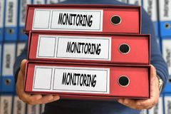 Monitoring process words. Folder concept. Ring binders. Administ. Ration. Conceptual Business Royalty Free Stock Photos