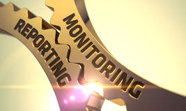 Monitoring Reporting Concept. Golden Metallic Cog Gears. 3D Illustration. Royalty Free Stock Images