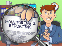 Monitoring & Reporting through Lens. Doodle Concept. Royalty Free Stock Photos