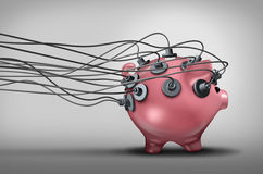 Monitoring Savings And Investments. Concept or audit and budget monitor symbol as a piggy bank with electrodes attached as a banking or financial diagnosis Stock Images