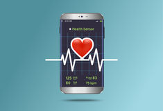 Monitoring the status of cardiogram on modern smartphone Stock Image