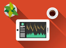 Monitoring trade on gadget. Trading concept illustration flat design with long shadow. Monitoring trade on gadget Stock Photo