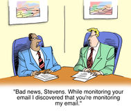 While monitoring you I saw you were monitoring me Stock Photography