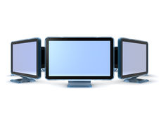 Monitors. 3d rendering circle of Monitors isolated on white Stock Image