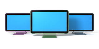 Monitors. 3d rendering of three colorful transparent f Monitors isolated on white Stock Photos