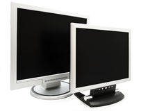 Monitors. Two computer monitors with black screen over the white background Royalty Free Stock Photography