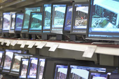 Monitors Displayed In Shelves. At an electronic store Stock Image