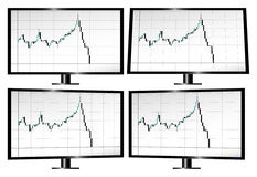 Monitors displaying stock market crash with candlesticks. Monitors in different angles displaying stock market crash with candlesticks Stock Photography