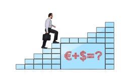Monitors with formula. Businessman walking up stairs of monitors with formula Royalty Free Stock Images