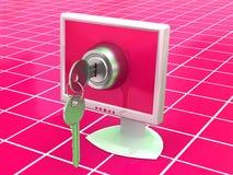 Monitors with keys Stock Photo