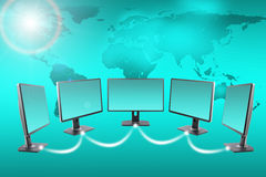 Monitors with map Stock Photography