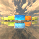 Monitors with maps in the sky Royalty Free Stock Photos