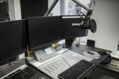 Monitors And Microphone Over Table In Radio Studio. Computer monitors and microphone over table in radio studio Royalty Free Stock Images