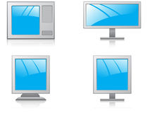Monitors and tvs. A set of different monitors Stock Images