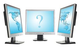Monitors and world map Stock Photography
