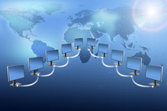 Monitors with world map on blue Royalty Free Stock Photo