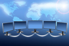 Monitors with world map Stock Image