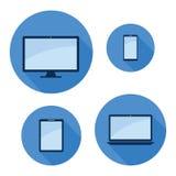 Monitoru telefonu pastylki laptopu ikony set ilustracja wektor