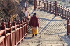 Monja budista que camina abajo de la escalera en el lepisosteus de Larung en un rato de mañana caliente y de niebla Imagen de archivo