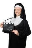 Monja con el tablero de la película Fotografía de archivo libre de regalías