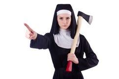 Monja joven con el hacha Imágenes de archivo libres de regalías