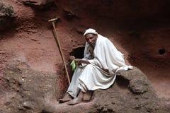 Monje copto en Lalibela Fotos de archivo libres de regalías