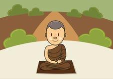 Monje de la meditación en bosque Fotos de archivo libres de regalías