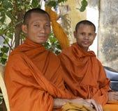 Monjes budistas en Camboya Fotografía de archivo libre de regalías