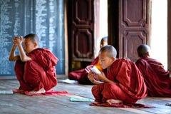 Monjes del novato, Myanmar Fotografía de archivo