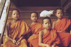 Monjes del novato que se sientan en las escaleras Fotografía de archivo libre de regalías