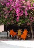 Monjes en la sombra de la buganvilla vieja Imagenes de archivo