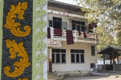 monkÂ的修道院的外部, Amarapura,缅甸 免版税库存图片