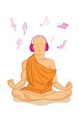 Monk. Illustration of meditating monk in headphones Royalty Free Stock Image