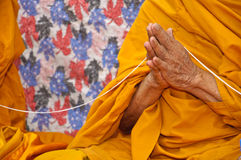 Monk. He is blessing in Buddhism ceremony royalty free stock images