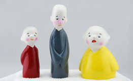 Monk. Three Chinese dolls monk Royalty Free Stock Images