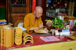 Monk. In Kek Lok Si temple in George Town, Penang, Malaysia Royalty Free Stock Photos