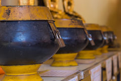 Monk alms bowls. Lock up master key protect steal Royalty Free Stock Images