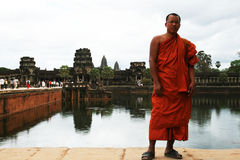 Monk in angkor Stock Photo
