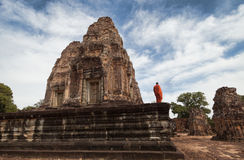 Monk in Angkor Temple Stock Image