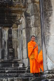 Monk in Angkor Wat Stock Image