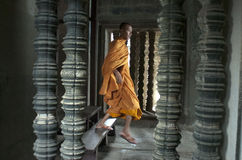 Monk in Angkor Wat. Siem Reap. Cambodia Royalty Free Stock Photo