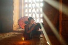 Monk in Bagan, Myanmar stock photo