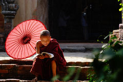 Monk in Bagan, Myanmar Stock Images