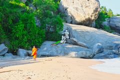 Monk at the beach of Thailand royalty free stock photo