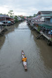 A monk on a boat in Ampawa Floating Market, Samutsongkhram, Thai Royalty Free Stock Images