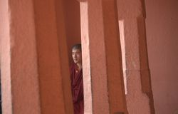 A monk at Bodh Gaya Royalty Free Stock Images