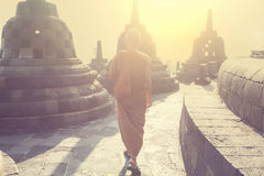 Monk in Borobudur Royalty Free Stock Image