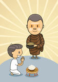 Monk with bowl food with praying boy Stock Photos