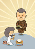 Monk with bowl food with praying girl Stock Image