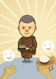 Monk with bowl food Stock Images